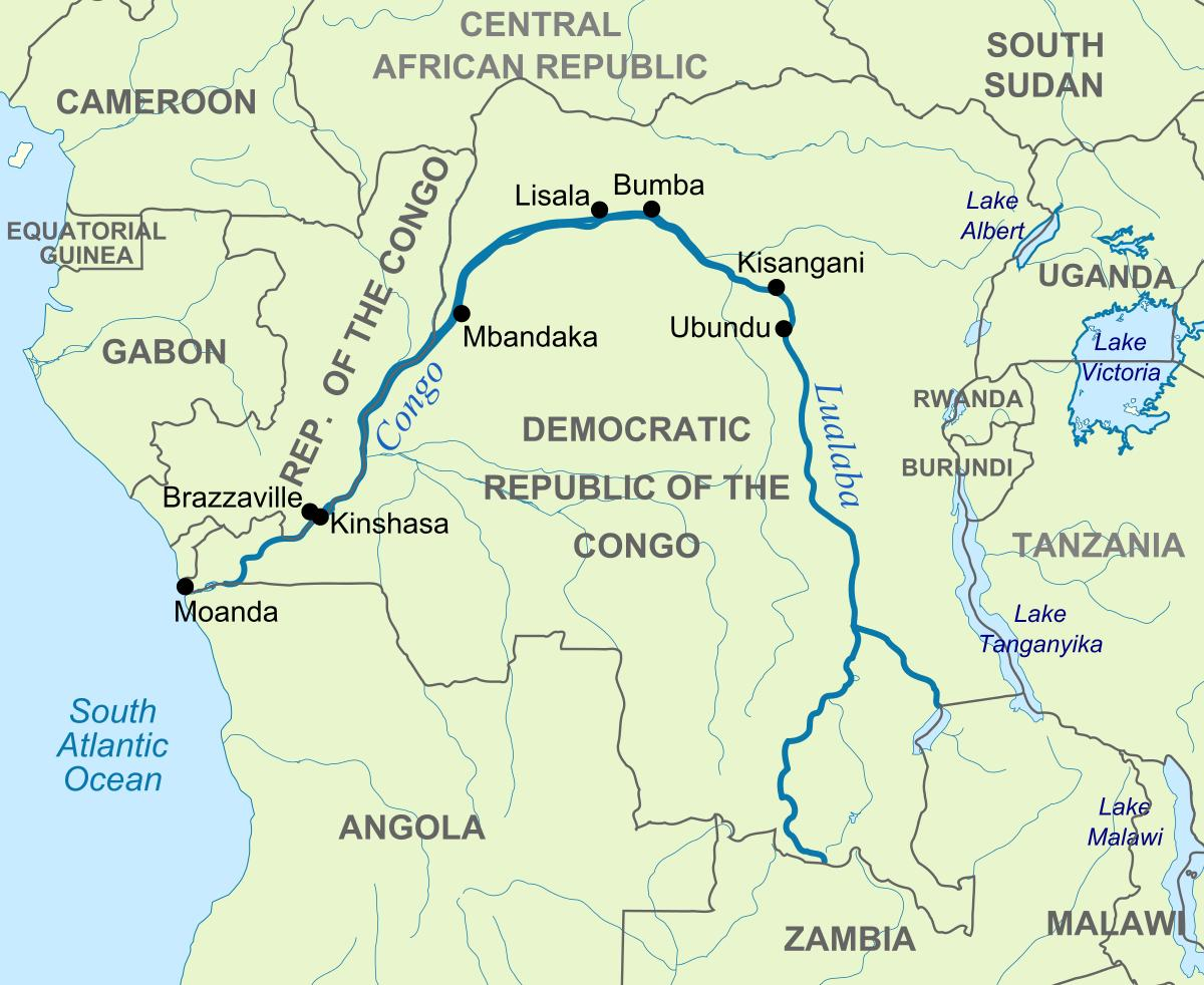 Zaire river map - Zaire river on world map (Middle Africa - Africa)