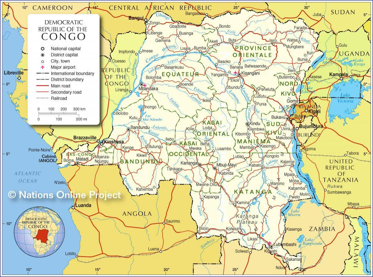 map of democratic republic of the congo