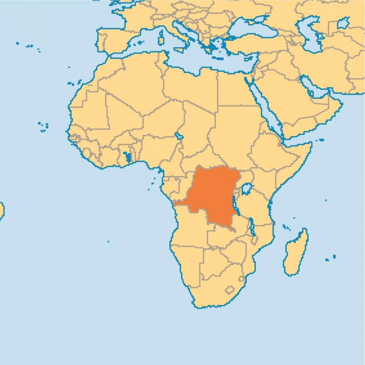 Zaire Africa Map Zaire on world map   Map of zaire on world (Middle Africa   Africa)